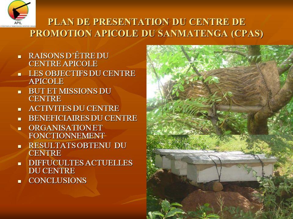 PLAN DE PRESENTATION DU CENTRE DE PROMOTION APICOLE DU SANMATENGA (CPAS)