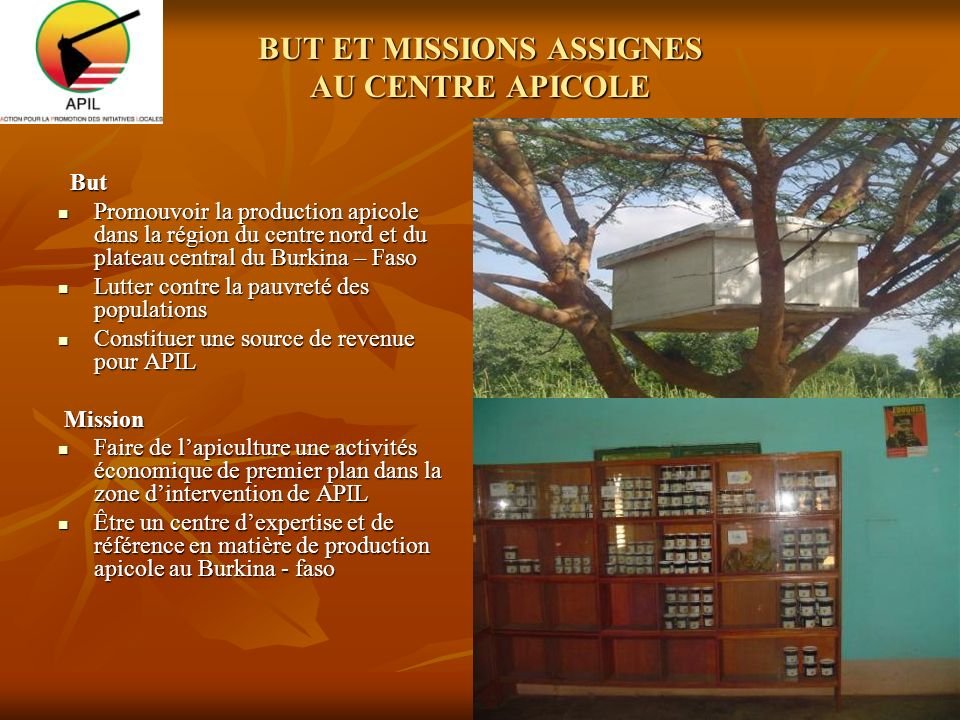 BUT ET MISSIONS ASSIGNES AU CENTRE APICOLE