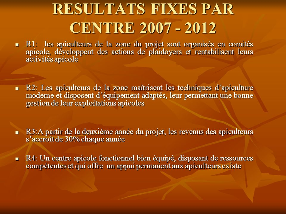 RESULTATS FIXES PAR CENTRE 2007 - 2012