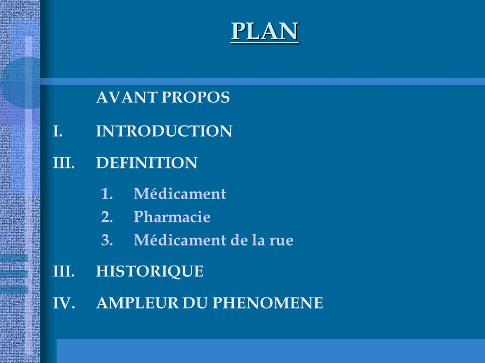 PLAN AVANT PROPOS INTRODUCTION DEFINITION Médicament Pharmacie