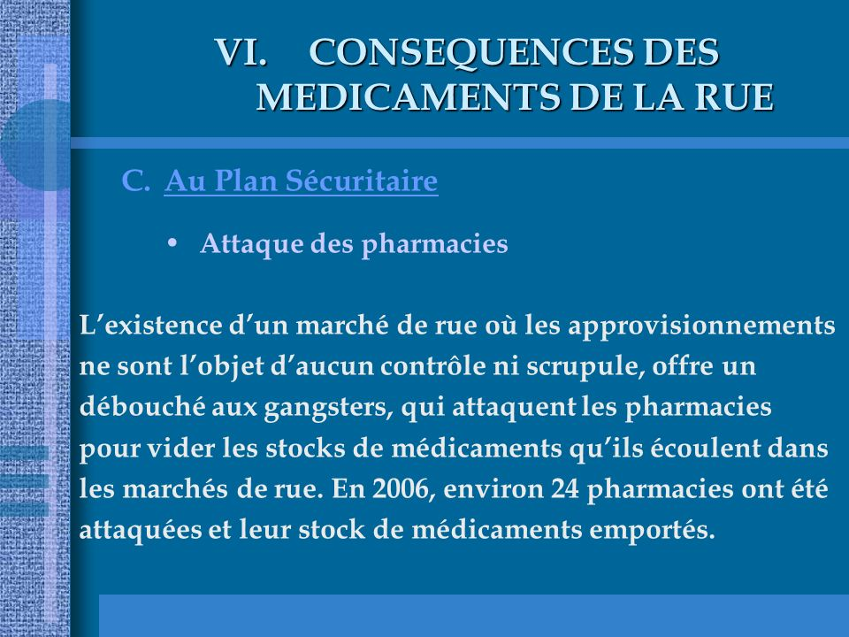 CONSEQUENCES DES MEDICAMENTS DE LA RUE