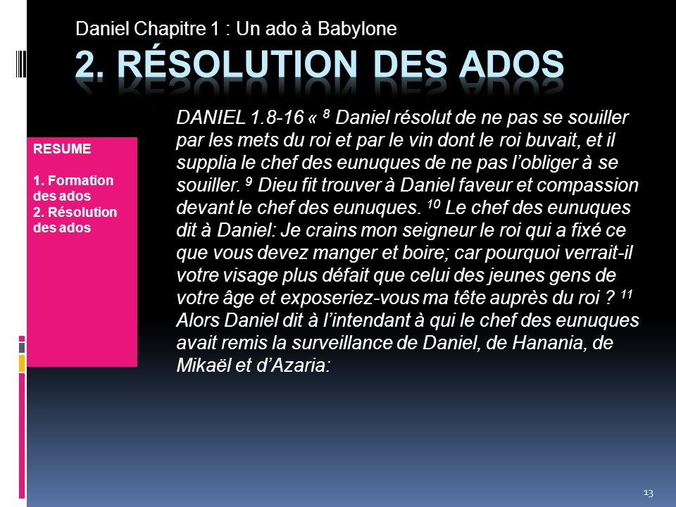 Daniel Chapitre 1 : Un ado à Babylone