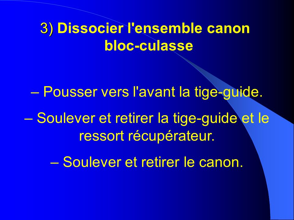 3) Dissocier l ensemble canon bloc-culasse