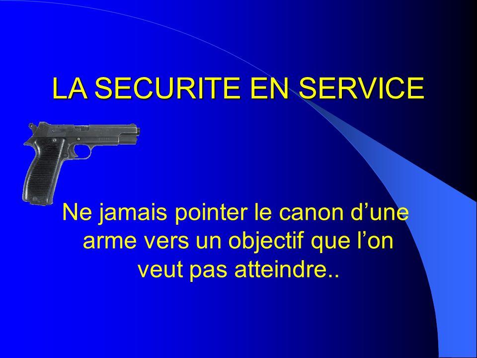 LA SECURITE EN SERVICE Ne jamais pointer le canon d'une