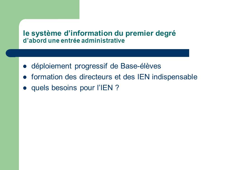 le système d'information du premier degré d'abord une entrée administrative