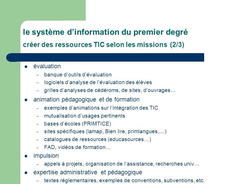 le système d'information du premier degré créer des ressources TIC selon les missions (2/3)