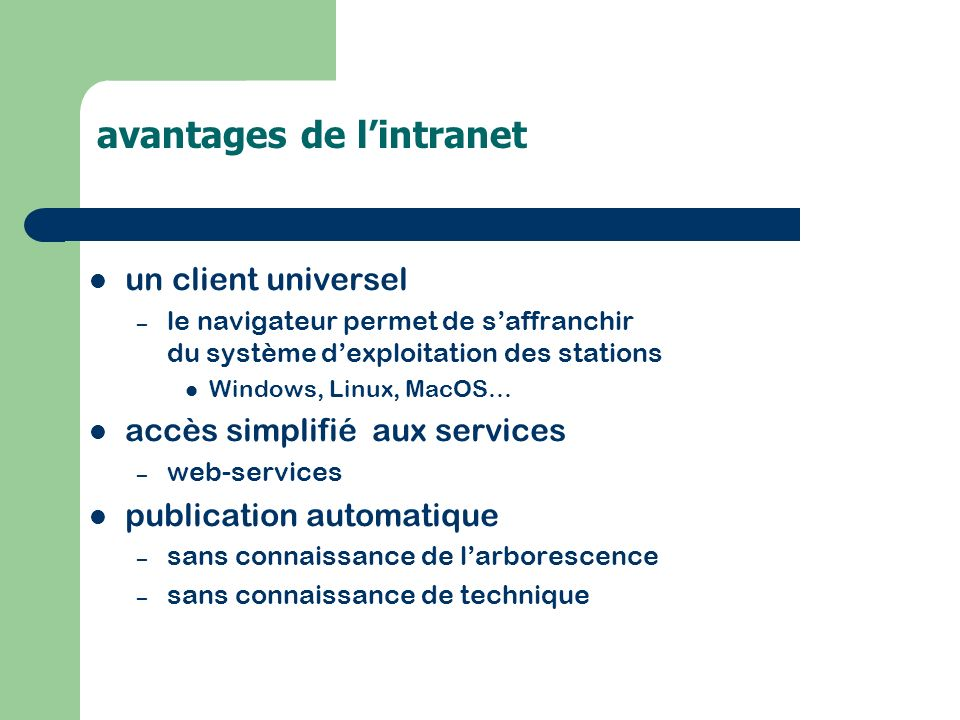 avantages de l'intranet