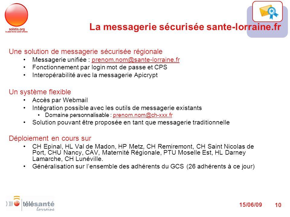 La messagerie sécurisée sante-lorraine.fr