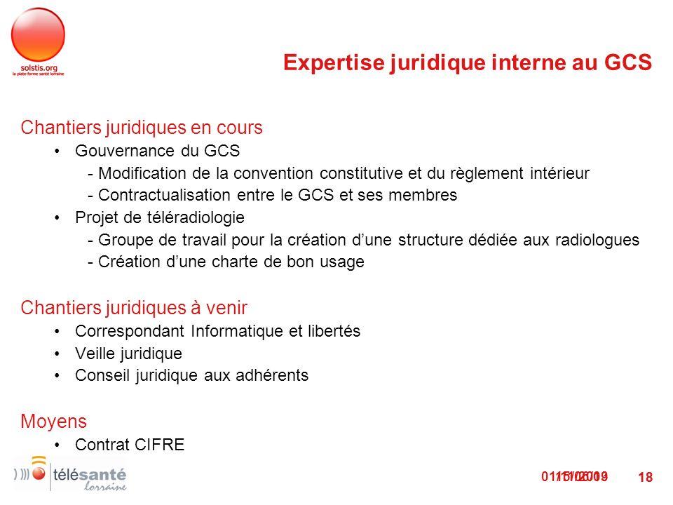 Expertise juridique interne au GCS
