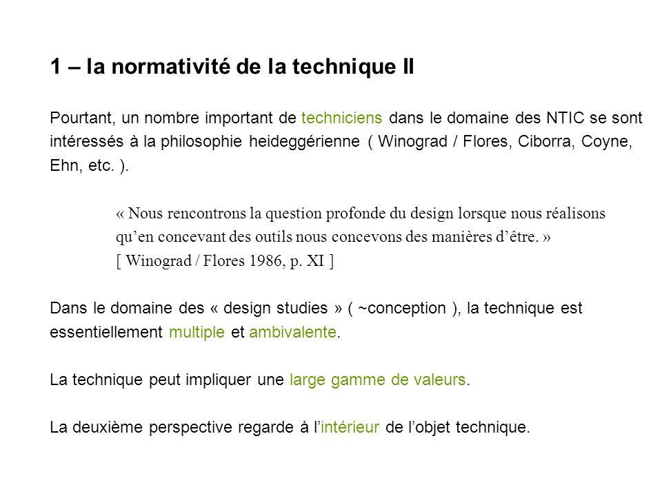 1 – la normativité de la technique II