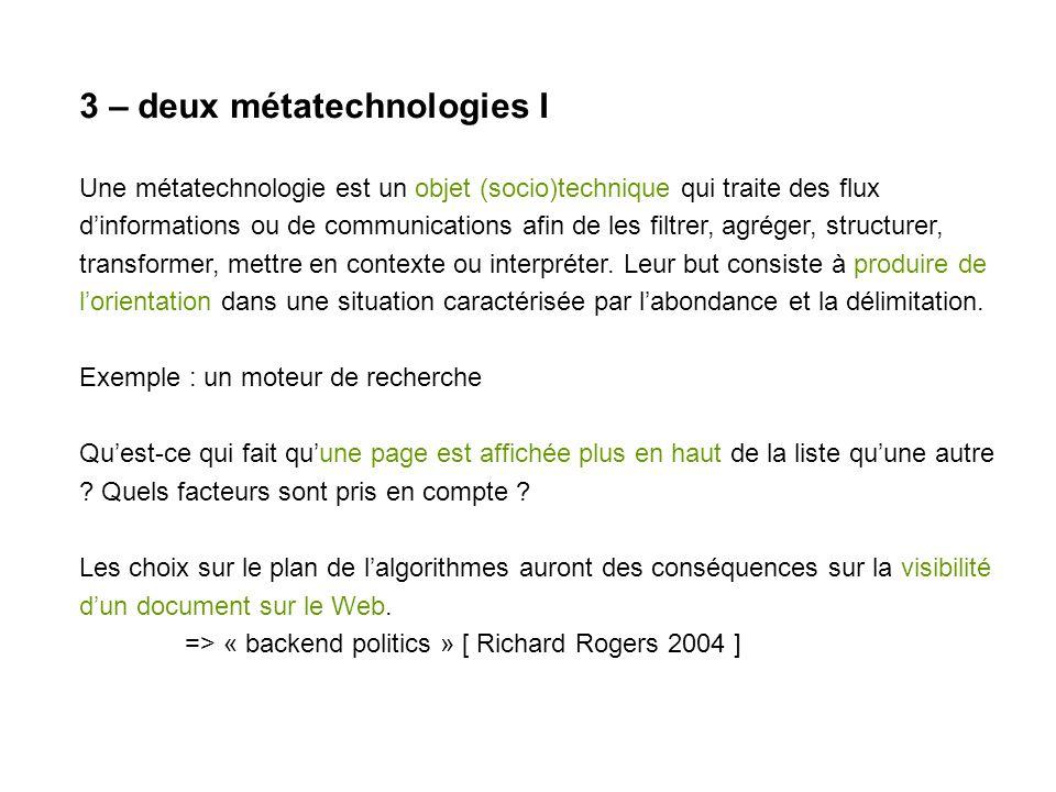 3 – deux métatechnologies I