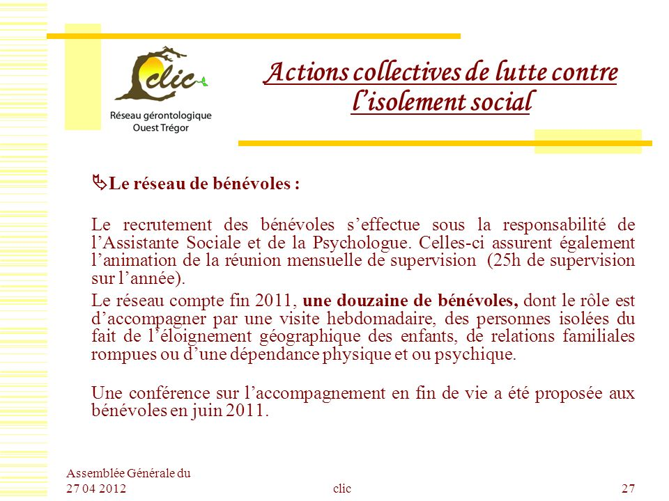 Actions collectives de lutte contre l'isolement social