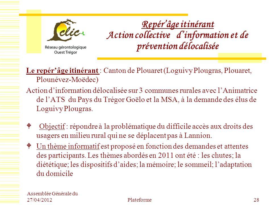 Repér'âge itinérant Action collective d'information et de prévention délocalisée