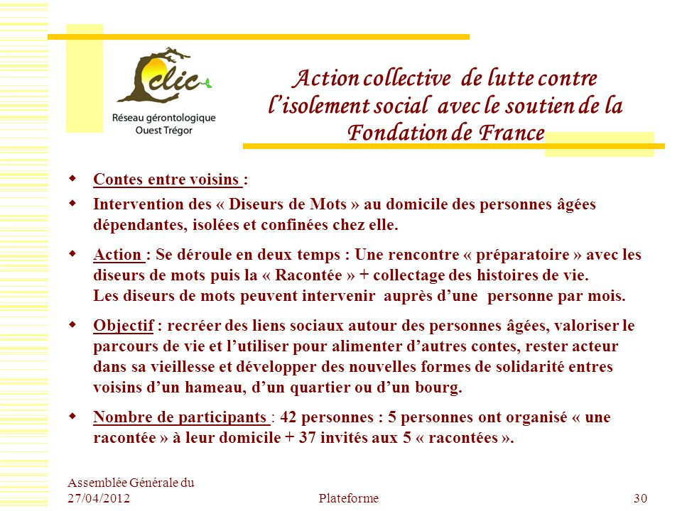 Action collective de lutte contre l'isolement social avec le soutien de la Fondation de France