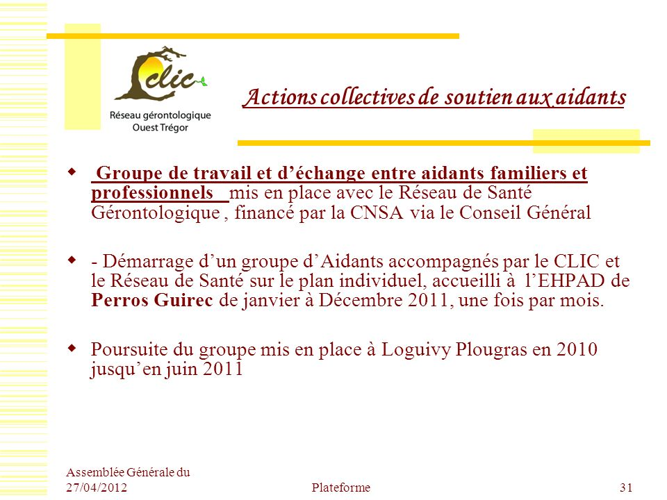 Actions collectives de soutien aux aidants