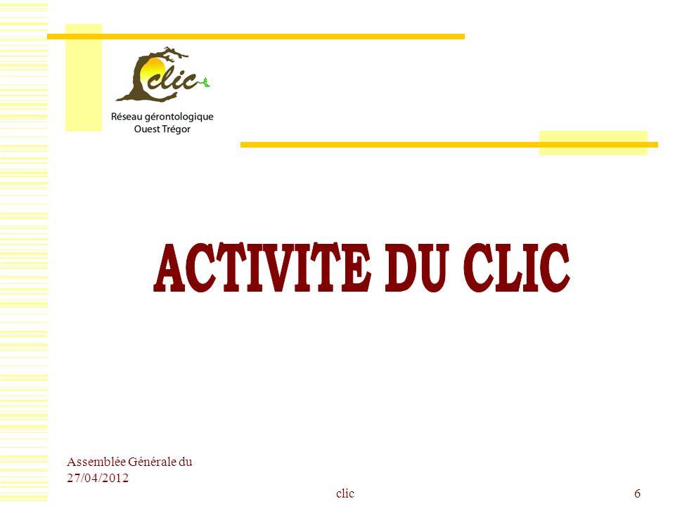 ACTIVITE DU CLIC Assemblée Générale du 27/04/2012 clic