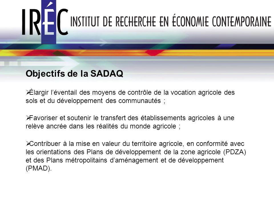 Objectifs de la SADAQ Élargir l'éventail des moyens de contrôle de la vocation agricole des sols et du développement des communautés ;