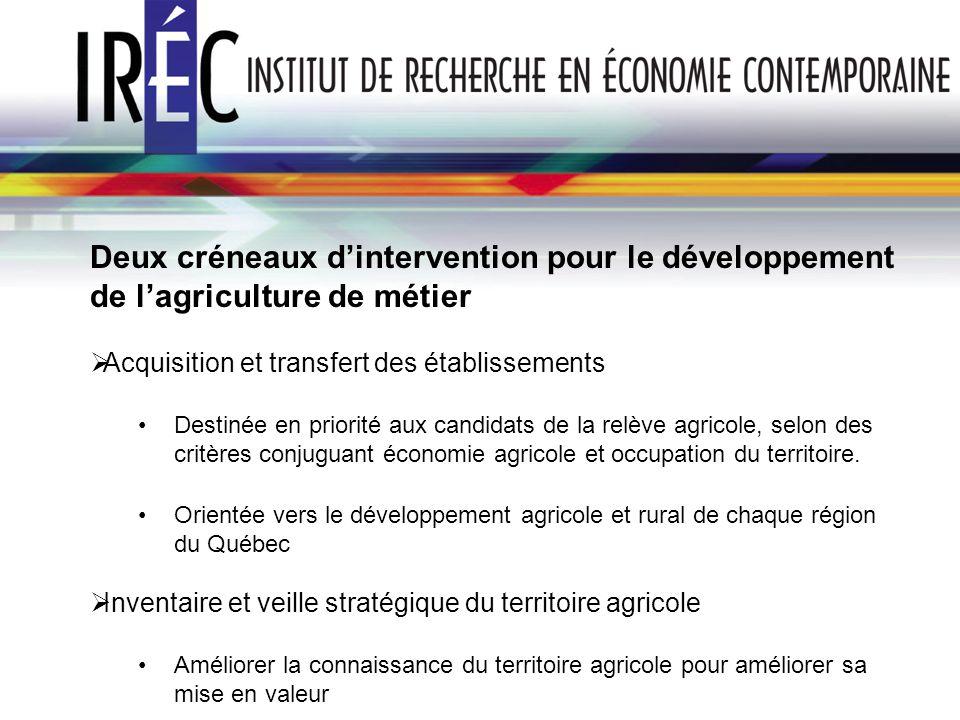 Deux créneaux d'intervention pour le développement de l'agriculture de métier