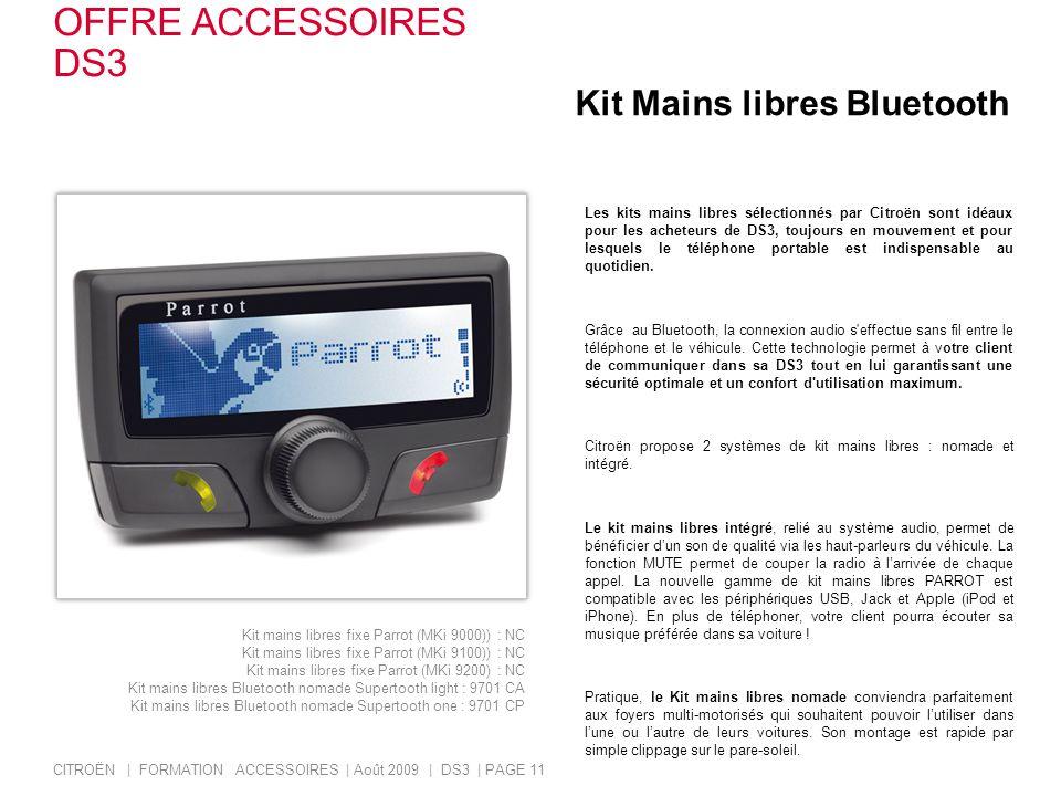 OFFRE ACCESSOIRES DS3 Kit Mains libres Bluetooth
