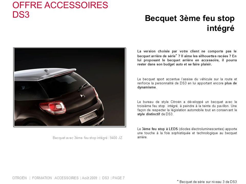 OFFRE ACCESSOIRES DS3 Becquet 3ème feu stop intégré