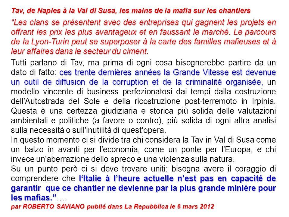 Tav, de Naples à la Val di Susa, les mains de la mafia sur les chantiers