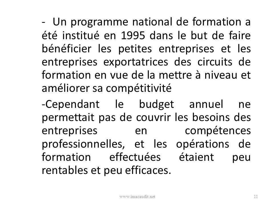 - Un programme national de formation a été institué en 1995 dans le but de faire bénéficier les petites entreprises et les entreprises exportatrices des circuits de formation en vue de la mettre à niveau et améliorer sa compétitivité