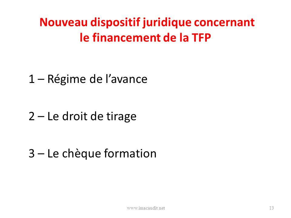 Nouveau dispositif juridique concernant le financement de la TFP