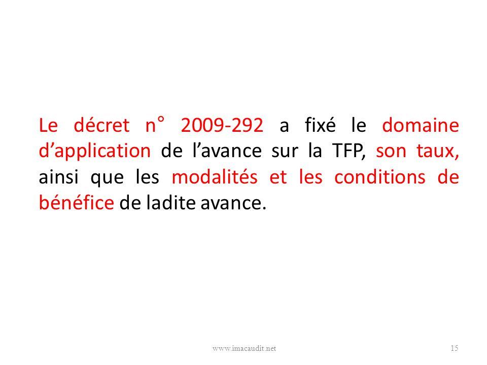 Le décret n° 2009-292 a fixé le domaine d'application de l'avance sur la TFP, son taux, ainsi que les modalités et les conditions de bénéfice de ladite avance.
