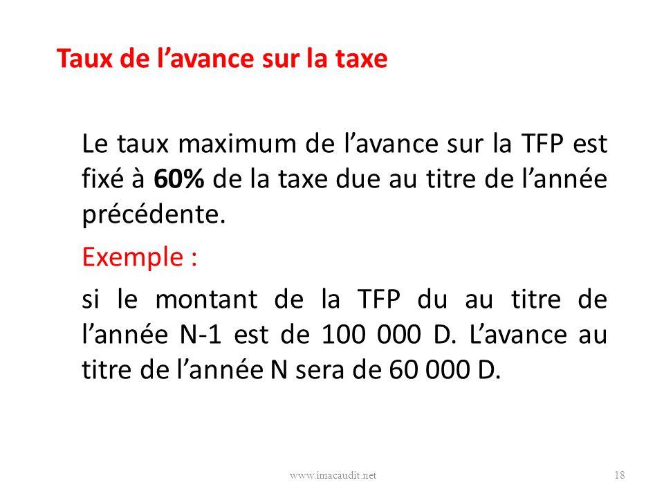 Taux de l'avance sur la taxe