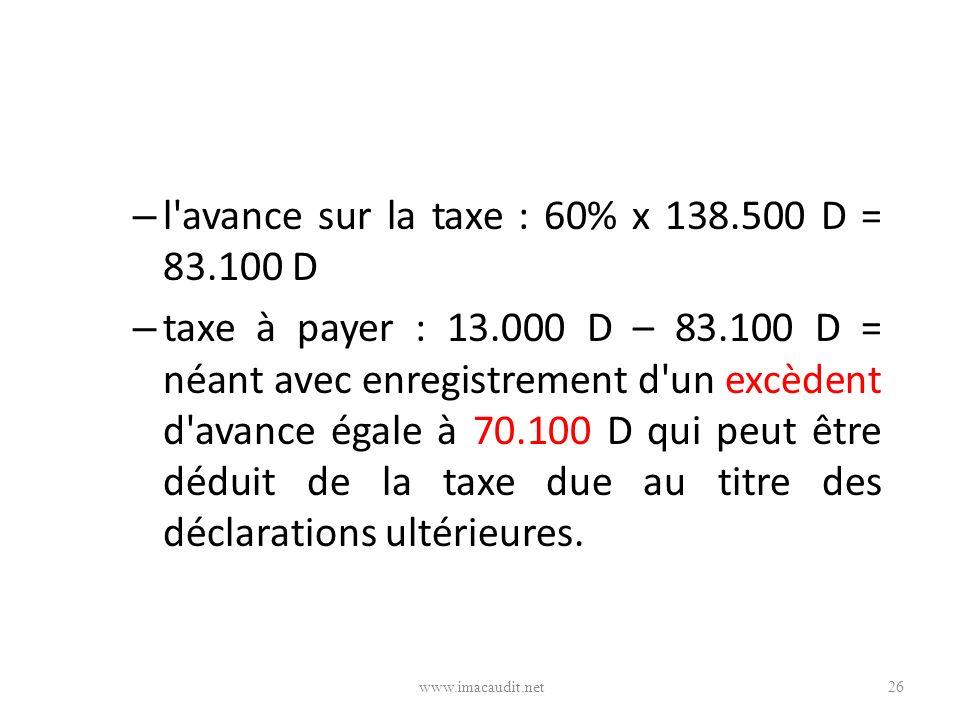 l avance sur la taxe : 60% x 138.500 D = 83.100 D