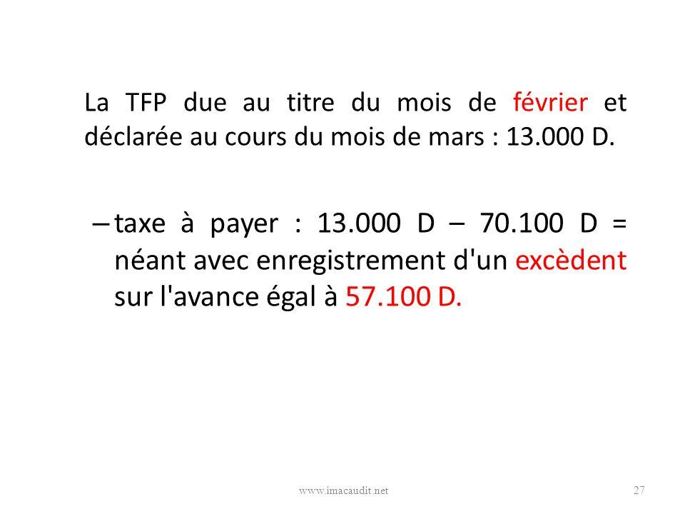 La TFP due au titre du mois de février et déclarée au cours du mois de mars : 13.000 D.