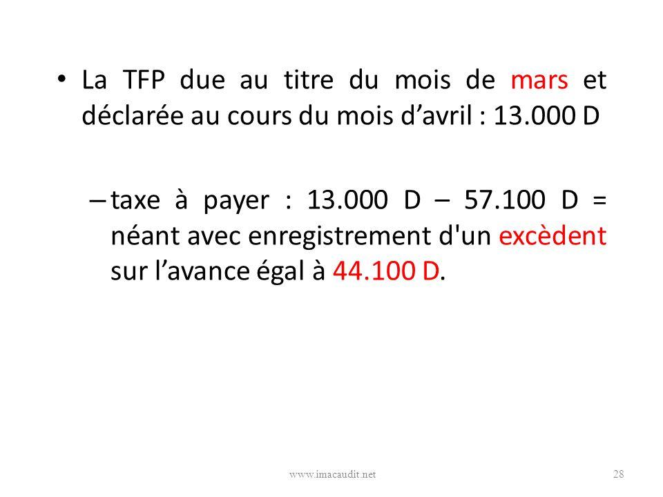 La TFP due au titre du mois de mars et déclarée au cours du mois d'avril : 13.000 D
