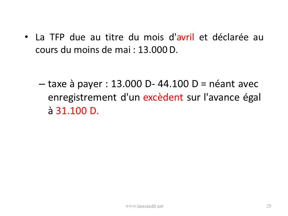 La TFP due au titre du mois d avril et déclarée au cours du moins de mai : 13.000 D.
