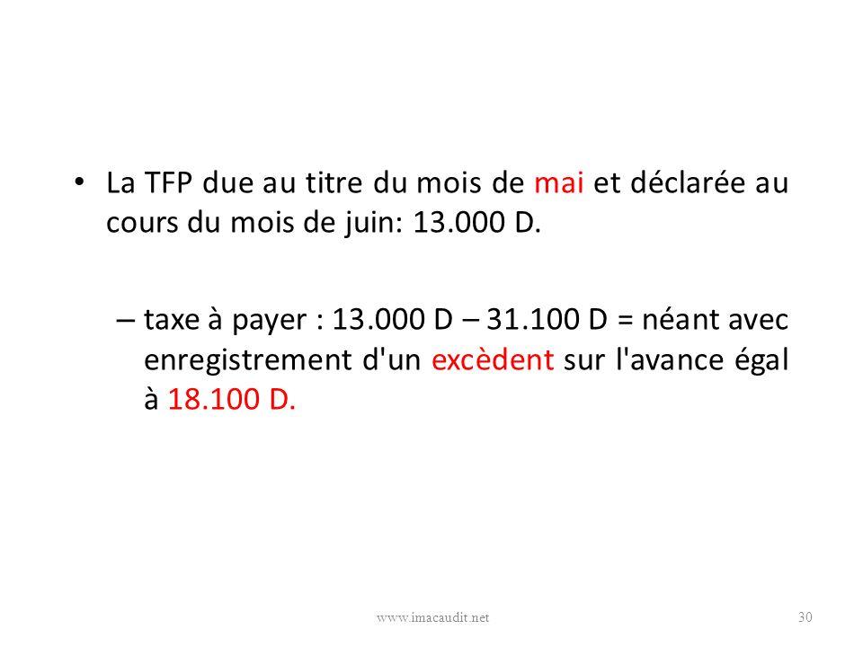 La TFP due au titre du mois de mai et déclarée au cours du mois de juin: 13.000 D.