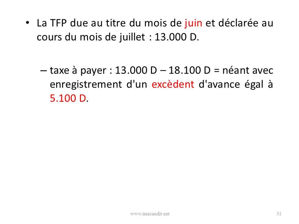 La TFP due au titre du mois de juin et déclarée au cours du mois de juillet : 13.000 D.