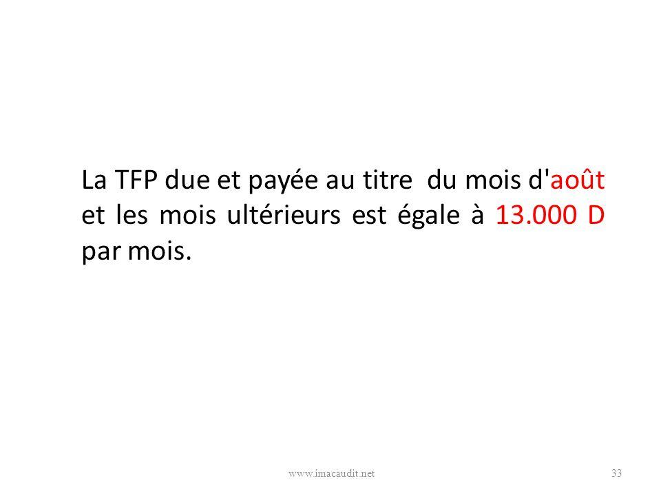 La TFP due et payée au titre du mois d août et les mois ultérieurs est égale à 13.000 D par mois.