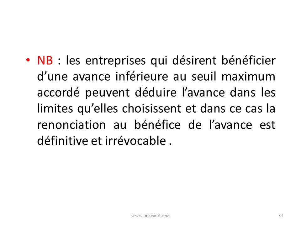 NB : les entreprises qui désirent bénéficier d'une avance inférieure au seuil maximum accordé peuvent déduire l'avance dans les limites qu'elles choisissent et dans ce cas la renonciation au bénéfice de l'avance est définitive et irrévocable .