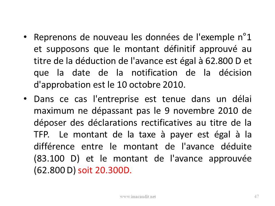 Reprenons de nouveau les données de l exemple n°1 et supposons que le montant définitif approuvé au titre de la déduction de l avance est égal à 62.800 D et que la date de la notification de la décision d approbation est le 10 octobre 2010.