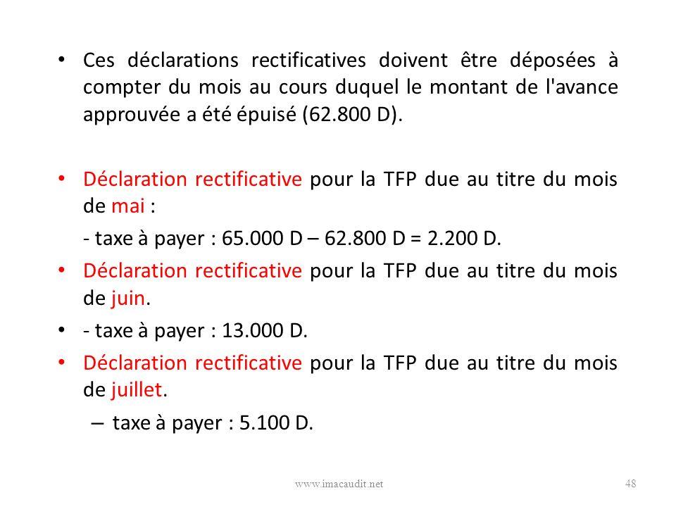 Déclaration rectificative pour la TFP due au titre du mois de mai :