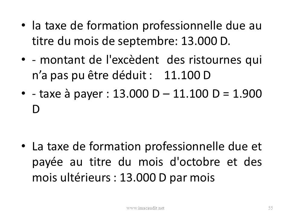 la taxe de formation professionnelle due au titre du mois de septembre: 13.000 D.