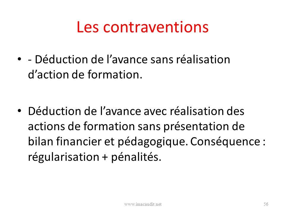 Les contraventions - Déduction de l'avance sans réalisation d'action de formation.