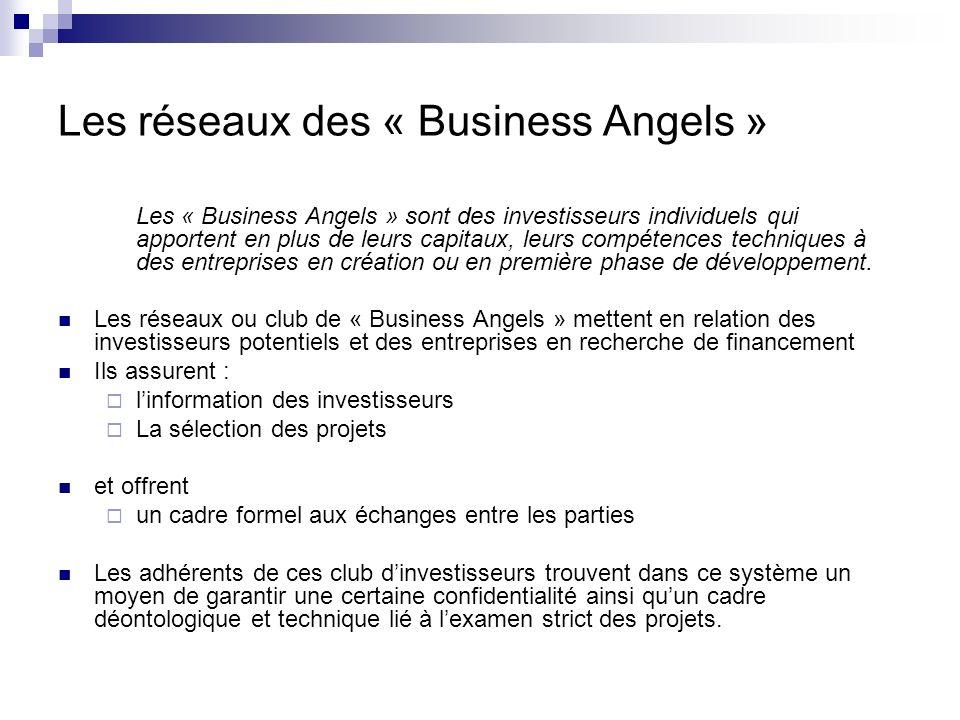 Les réseaux des « Business Angels »