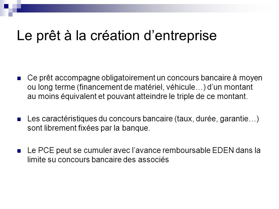 Le prêt à la création d'entreprise