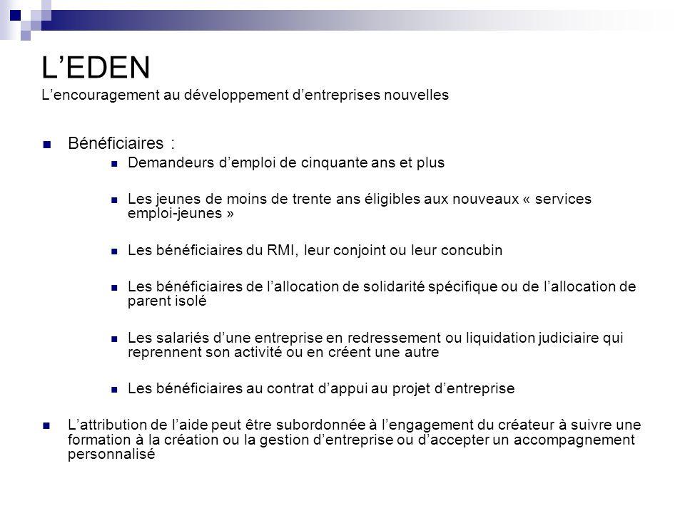 L'EDEN L'encouragement au développement d'entreprises nouvelles