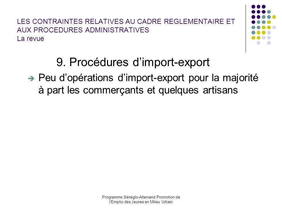 9. Procédures d'import-export