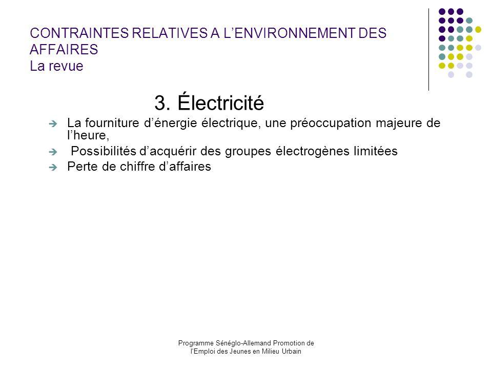CONTRAINTES RELATIVES A L'ENVIRONNEMENT DES AFFAIRES La revue