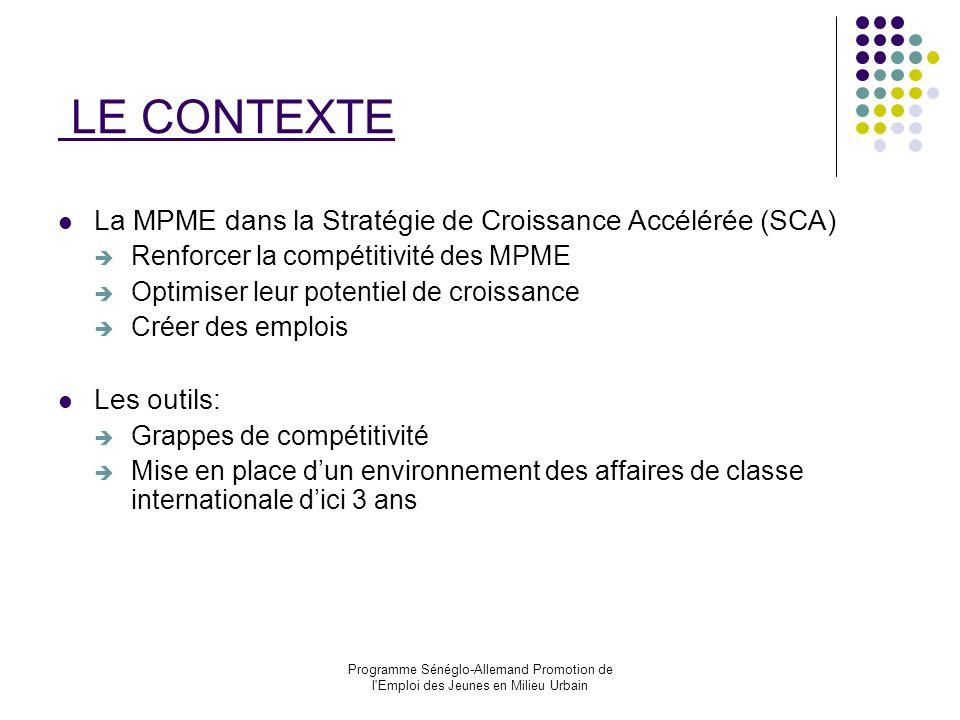 LE CONTEXTE La MPME dans la Stratégie de Croissance Accélérée (SCA)