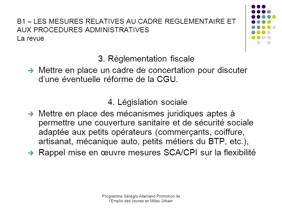 3. Réglementation fiscale
