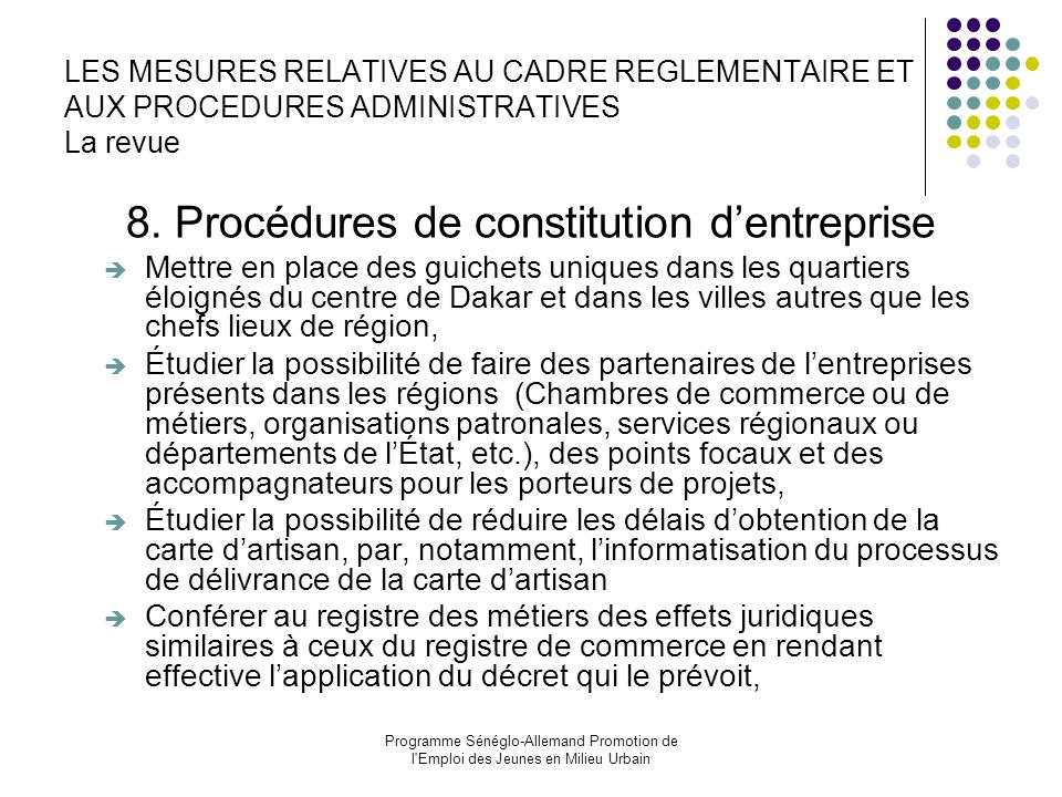 8. Procédures de constitution d'entreprise