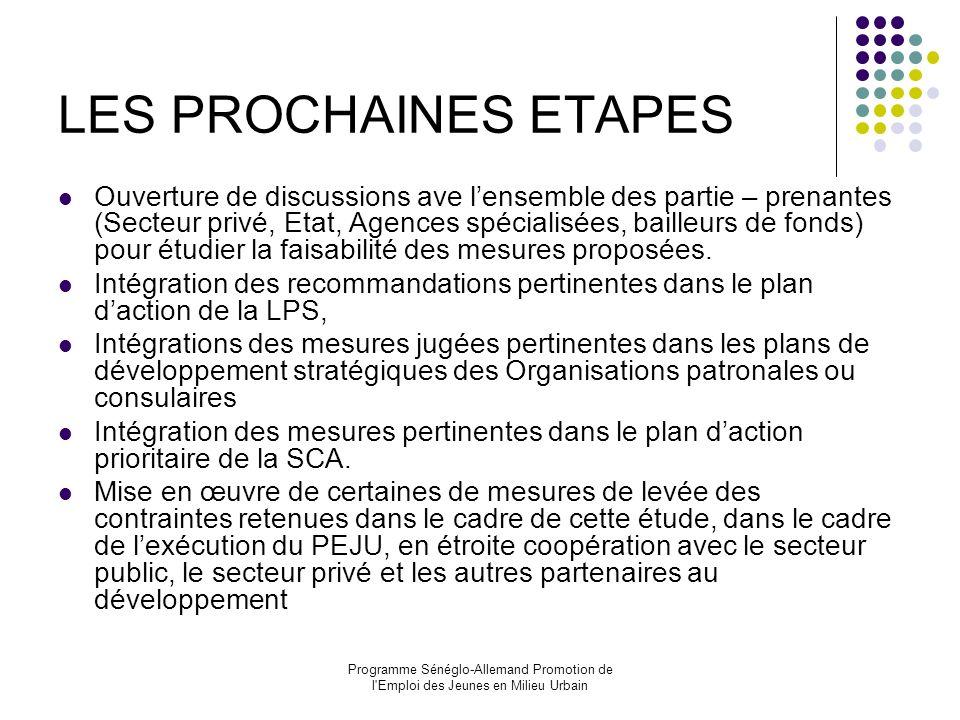 LES PROCHAINES ETAPES